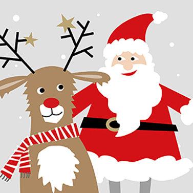 Santa and Deer Lunch Napkins