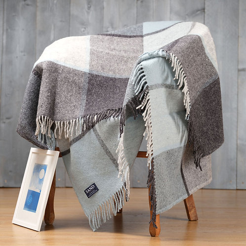 Duck Egg Block Check Pure New Wool Sand Blanket