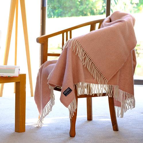 Dusky Pink & Pearl Herringbone Pure New Wool Sand Blanket