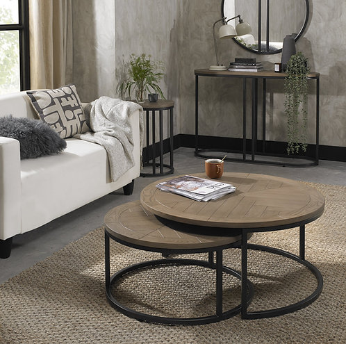 Chevron Weathered Ash Coffee Nest Of Tables