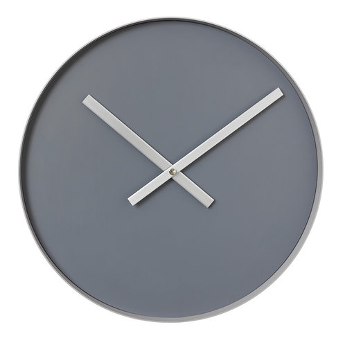 Wall clock steel gray - ashes of roses, large RIM