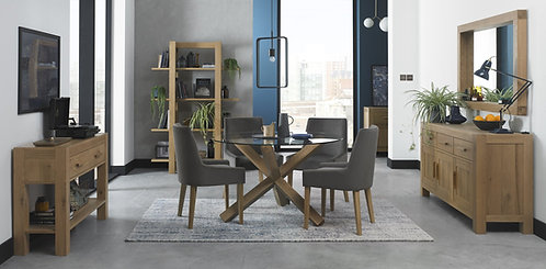 Turin Light Oak Glass Top Round Dining Table with 4 Chairs