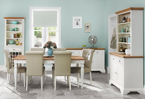 Hampstead 4-6 Two Tone Rectangular Extending Dining Set with Upholstered Chairs