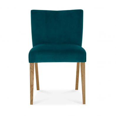 Turin Light Oak Low Back Upholstered Sea Green Dining Chair (Pair)