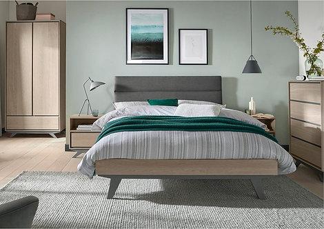 Brunel Scandi Oak and Dark Grey Upholstered Bedstead Double 150cm