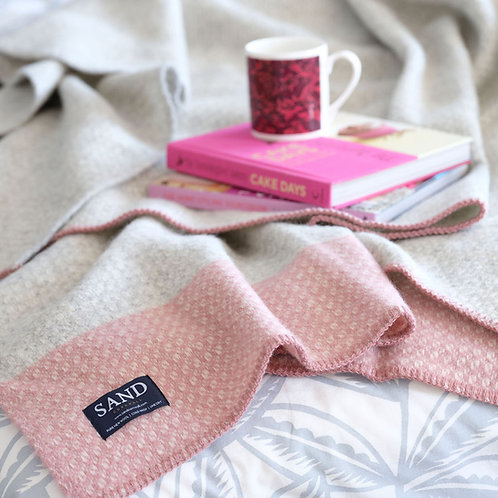 Crossweave Dusty Pink Pure New Wool Blanket