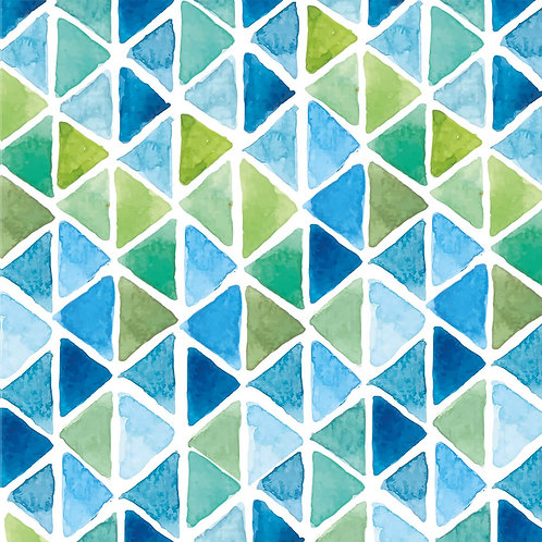 Watercolor triangle aqua lunch napkins 33x33 cm