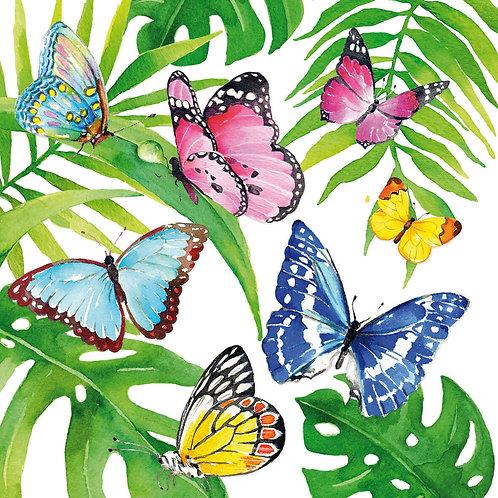 Tropical Butterflies lunch napkins 33x33 cm
