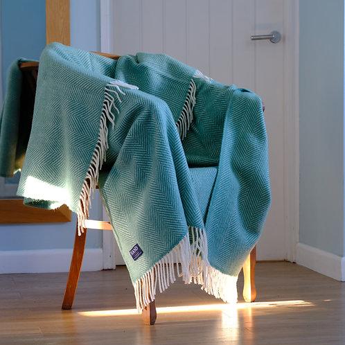 Sea Green Fishbone Pure New Wool Sand Blanket