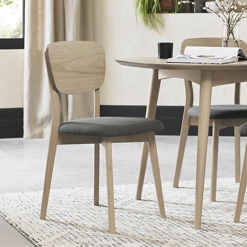 Dansk Scandi Oak Veneer Back Dining Chair - Cold Steel Fabric (Pair)