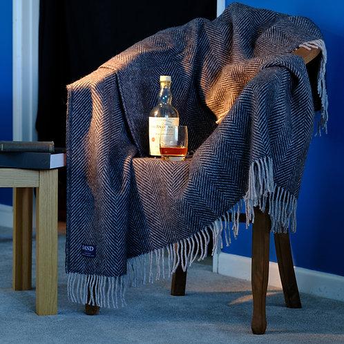 Charcoal & Silver Grey Herringbone Pure New Wool Sand Blanket