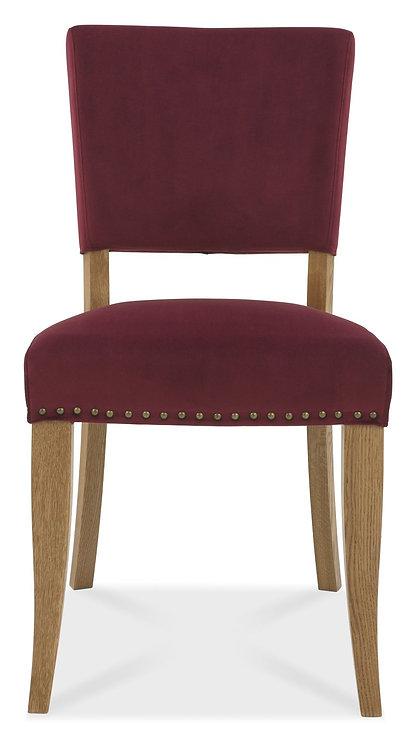 Rustic Oak Upholstered Chair - Crimson Velvet Fabric (Pair)