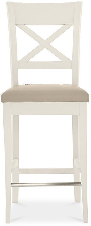 Montreux Antique White X Back Bar Stool - Ivory Bonded Leather (Pair)