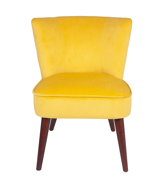 Ochre Velvet  Chair with Walnut Effect Legs