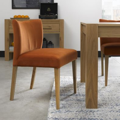 Turin Light Oak Low Back Upholstered Harvest Pumpkin Dining Chair (Pair)