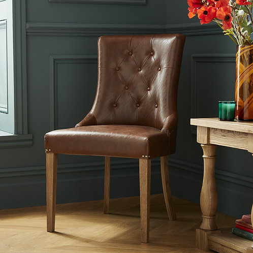 Rustic Oak Upholstered Scoop Chair - Tan Faux Leather (Pair)