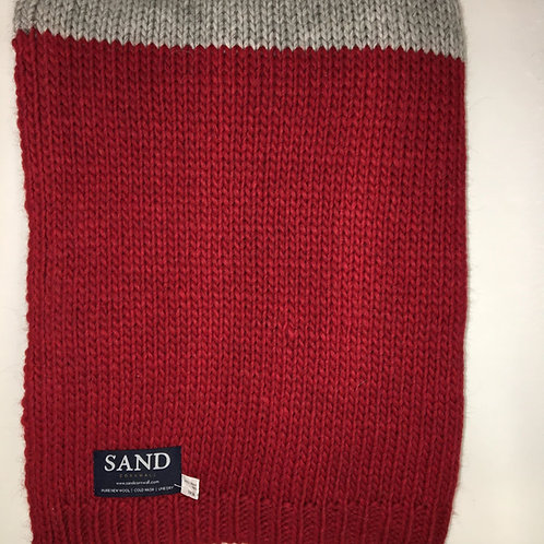 Knitted Alpaca Wool Blanket Grey & Red