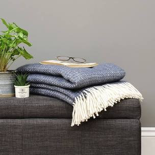 Slate Blue Illusion Pure New Wool Sand Blanket
