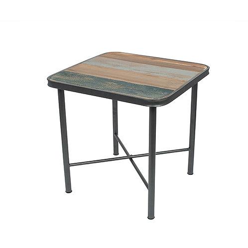 Black Metal & Multi Coloured Wood Square Table sand cornwall