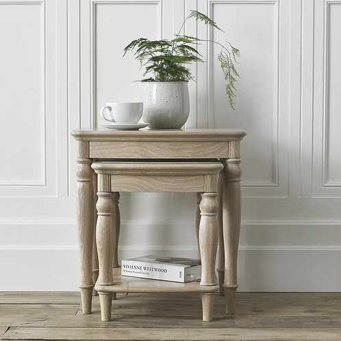 Bordeaux Chalk Oak Nest Of Lamp Tables