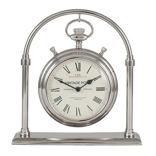 Shiny Nickel Brass & Glass Carriage Clock