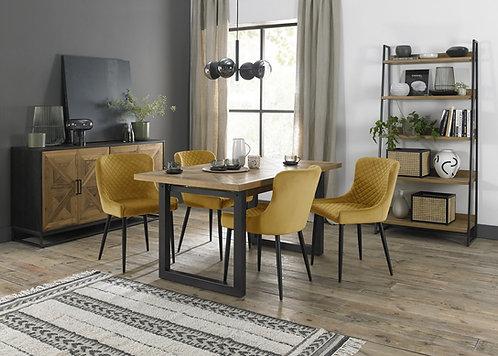 Mustard Velvet Upholstered Dining Chairs with Black Frame