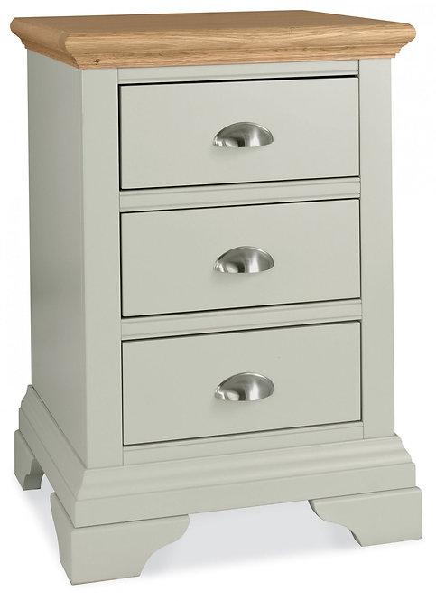 Hampstead Soft Grey and Oak 3 Drawer Bedside Cabinet