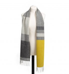 Lambswool Scarf Rolled Fringe Stripe Canary