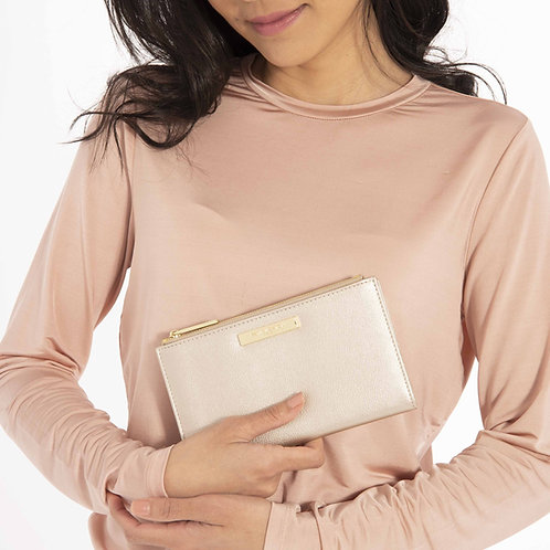 Katie Loxton Soft Pebble Alise Fold Out Purse Metallic Champagne