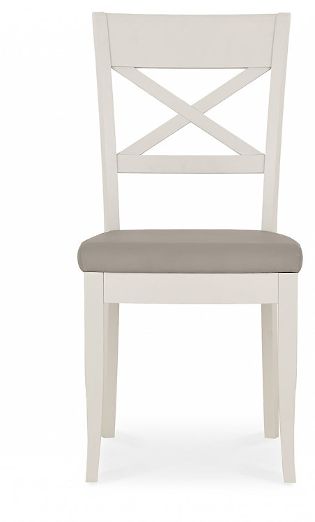 Montreux Soft Grey X Back Chair - Grey Bonded Leather (Pair)