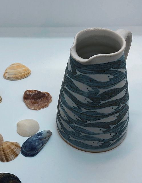 Coastal Hand Crafted Pottery Fish Collection Small Cone Jug