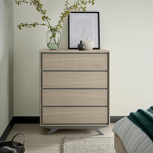 Brunel Scandi Oak and Dark Grey 4 Drawer Chest