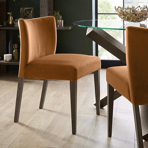 Turin Dark Oak Low Back Uph Chair Harvest Pumpkin Velvet Fabric (Pair)