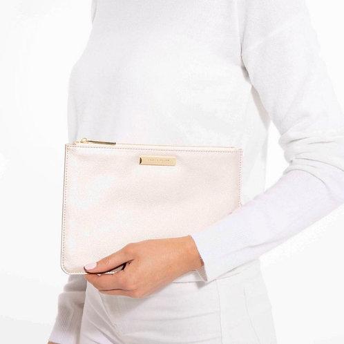 Katie Loxton Soft Pebble Perfect Pouch Metallic White