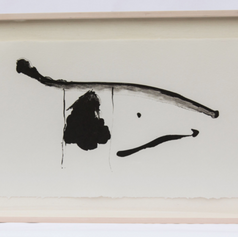 """10. Black Concentrated, 1981-83 Negro Concentrado 15 1/4 x 37 3/16 in. lithograph from aluminum plate printed in black Illustration for the verse that reads: Dolor de negro concentrado angustia Pain of black concentrated anguish Edward Hirsch writes that Motherwell liked to speculate that there were six basic types of """"families"""" of painting-minds, and that these different families would from time to time rise to prominence at different historical moments. Motherwell believed also that he belonged to a family of 'black' painters that included Manet, Goya, Miro, Matisse and Picasso. Hirsch feels that there is no doubt that Motherwell wanted to aspire to be a part of this group of painters who used black as a color to achieve completeness of a subject."""