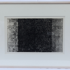 """23. Words (Buttock Knee Sock . . .), 1976 Des Mots (Fesse Genou Chaussette) 10 9/16 x 17 1/2 in. Etching, lift-ground aquatint, and burnishing Samuel Beckett was born in Ireland in 1906. He was educated at the Portora Royal School and Trinity College, Dublin, where he took a B.A. degree in 1927, having specialized in French and Italian. Beckett worked as a teacher in Belfast and lecturer in English at the École Normale Supérieure in Paris. In 1932 he quit teaching to devote his time entirely to writing. Beckett wrote much of his verse in French, saying that when he wrote in French it was easier to write """"without style."""" His selected poems for Foirades/Fizzles, were aleady written, entirely in French, prior to his meeting with Johns to discuss the collaboration to produce the livres d'artistes (artist book). On the double sized sheet, the words Buttock Knee Sock appear on the left side in English, while the words on the right side (Fesse Genou Chaussette) are in French."""