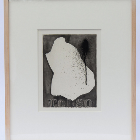 "36. Torso, 1976 Torse 9 5/16 x 7 1/16 in. Lift-ground aquatint By comparison with the positive image of Torse (catalog No. 34) which appears completely detailed by means of photo-screen transfer, the Torso image here is a negative empty space lacking detail. The former positive image captures the volumetric quality of the original torso cast as well as its surface of wax drippings, giving it a ""fullness"" while the later image leaves a feeling of ""emptiness."""