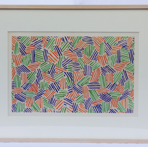20. Hatching Pattern, 1976 Hachure Motif 11 9/16 x 18 5/16 in. Four-color aquatint (lift-ground) and drypoint in orange, green, violet, and white from four copper plates Front end leaf for Foirades/Fizzles, the artist book (livre d'artiste ) published in 1976 as a collaboration between Jasper Johns and poet/playwright Samuel Beckett. Johns based his designs on imagery he had already initiated in the painting Untitled, 1972, while Beckett selected five Fizzles (short stories), some of which had already been published in French and translated by Beckett in English.