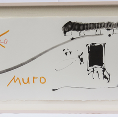 """8. Black Wall of Spain! 1981-83 Negro Muro de España 15 5/16 x 37 3/4 in. lithograph from three aluminum plates printed in ochre, red and black Illustration for the verse that reads: O negro muro de España! Oh black wall of Spain! With the outbreak of the Spanish civil war in 1936, the Chilian poet Pablo Neruda got involved in the heroic resistance against the fascist forces. He was dismissed from his consular post for his involvement and his poet friends became targets of fascist attacks. Rafael Alberti's house was torched and García Lorca was assassinated. Alberti returned to Spain after the death of the dictator Franco and in 1980 he attended an opening preview at a retrospective exhibition for Motherwell in Barcelona. Alberti approached the artist and cried out the words of his poem: """"Oh black wall of Spain!"""" as a sign of devotion to the painter whom he had never met."""