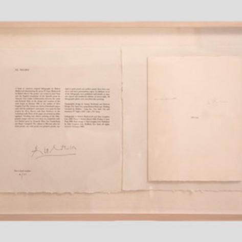Artist's signatures authenticating the collection with watermark bearing the initials of JJ (Jasper Johns), a watermark of the logo belonging to the printer Tyler Graphics Ltd. and the poet's (Samuel Beckett) signature.