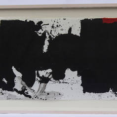 """15. Black With No Way Out, 1983 No Way Negro 15 3/8 x 37 7/8 in. lithograph from two aluminum plates printed in red and black Illustration for the verse that reads: Negro espanta sin fondo negro lengua cortada sin respuesta o penetrado negro sin salida posible Fright black bottomless Tongue black cut without answer Or penetrated black with no way out The shapes and forms that Motherwell created for El Negro Motherwell convey a deep sense of physical anguish, of love and death. They have great metaphoric power and have often been described as monumental works of art. The celebrated poet Edward Hirsch has made reference to the Spanish elegies as """"the hide of Spain with sensuous and austere presence as a protagonist in a tragic drama."""""""