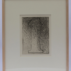 21. Numeral 1, 1976 Chiffre 1 (un) 9 3/16 x 6 15/16 Etching, soft-ground and drypoint Samuel Beckett allowed Johns to determine the order in which the five Fizzles would appear and to design how the words and etchings would be integrated in the livre d'artiste project.