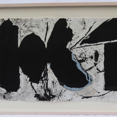"""4. Elegy Black Black, 1982-83 Negro Negro Elegia 15 1/4 x 38 in. lithograph from three aluminum plates printed in blue, opaque white and black Illustration for the verse that reads: Negro negro elegia negro con sangre negro coagulado con la cal de los huesos recortando las formas Elegy black black Black with blood coagulated black With the white lime of bones outlining forms Motherwell compared the process of creating his Elegies to constructing a sacred altar. What began as """"artful scribbling' took on a grave religious aura. The Elegies became a way for Motherwell to achieve two decisive goals: to remain true to abstraction and to permit him to express his feelings and emotions about something he intensely believed in"""