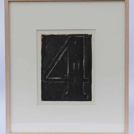37. Numeral 4, 1976 Chiffre 4 (quatre) 9 5/16 x 6 15/16 in. Lift-ground aquatint, stop-out crayon, and burnishing Fizzle 4 begins with a virtual caesura, the Numeral 4 presented as dark, monolithic, foreboding, and implacable. There were nine trial proofs made of this image, the first four with heavy and medium grain aquatint, followed by several radical reductions of the surface through burnishing.