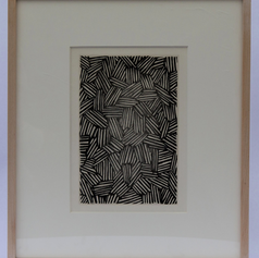 30. Hatching, 1976 Hachure 10 1/2 x 7 1/16 in. Etching, lift-ground aquatint and burnishing This single-page etching consists of a motif from the first panel of Johns' painting Untitled, 1972. The two plates that follow Flagstones (a) correspond to panel B of Untitled, 1972, and Flagstones (b) corresponds to panel C of the same painting. The latter two plates underwent several revisions and changes before completion. More than six trial proofs were made of each before the final version.