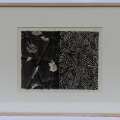 """29. Casts and Hatching, 1976 Plâtres et Hachure 10 11/16 x 14 3/16 in. Etching, lift-ground aquatint, and open-bite In Casts and Hatching, Johns uses a double-page layout to separate his panels as he did in the painting Untitled, 1972, and in other works that followed. Andrew Bush in his essay:The Expanding Eye: The Allegory of Forgetting in Johns and Beckett, contends that """"the whole of Fizzle 2 is poised between haut and bas (high and low)."""" In Beckett's writing there are moments of the same kind of relationships between figurative speech and disfiguration of thought as is Johns' treatment of his etchings with greater and lesser shadow, sometimes creating and covering hidden depths. The relationship between Johns' etchings and Beckett's text is itself allegorical."""