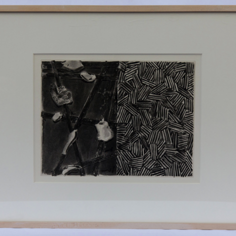 "29. Casts and Hatching, 1976 Plâtres et Hachure 10 11/16 x 14 3/16 in. Etching, lift-ground aquatint, and open-bite In Casts and Hatching, Johns uses a double-page layout to separate his panels as he did in the painting Untitled, 1972, and in other works that followed. Andrew Bush in his essay:The Expanding Eye: The Allegory of Forgetting in Johns and Beckett, contends that ""the whole of Fizzle 2 is poised between haut and bas (high and low)."" In Beckett's writing there are moments of the same kind of relationships between figurative speech and disfiguration of thought as is Johns' treatment of his etchings with greater and lesser shadow, sometimes creating and covering hidden depths. The relationship between Johns' etchings and Beckett's text is itself allegorical."