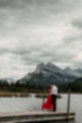 Banff Vermillion Lakes Red dress Engagement Photography