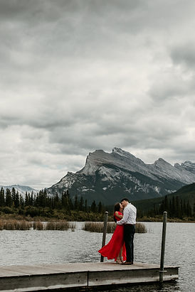 Banff Vermillion Lakes Red dress Engagement Photography