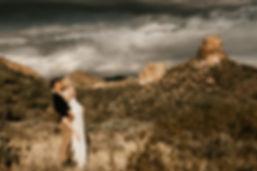 Arizona bride and groom in desert